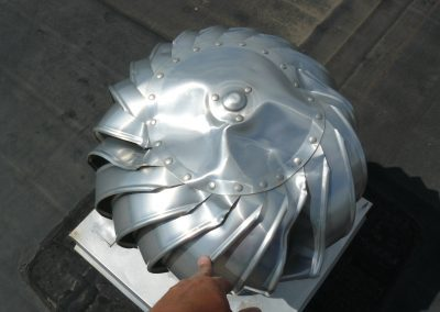 Hail Damage To Metal Roof Turbine Ventilator