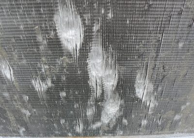 Closeup Of Hailstorm Deterioration Of HVAC
