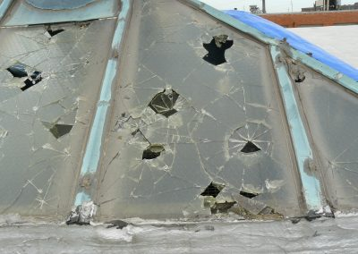Broken Glass Roof Caused By Hailstorm
