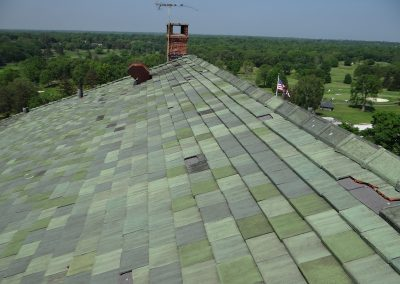 Green Tile Roof Seen From On Top Of It