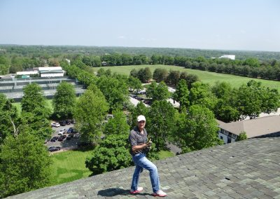 View Of Garden And Man Standing On A Tile Roof