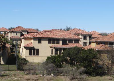 Neighborhood Of Houses With Tile Roofs