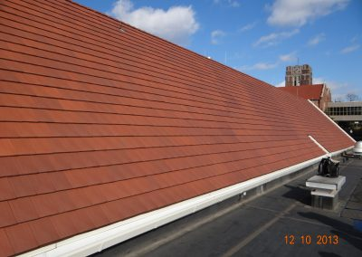 One Side Of Reddish Brown Roof With Flat Tiles