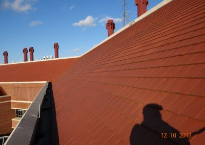 Roof With Flat Reddish Brown Tiles