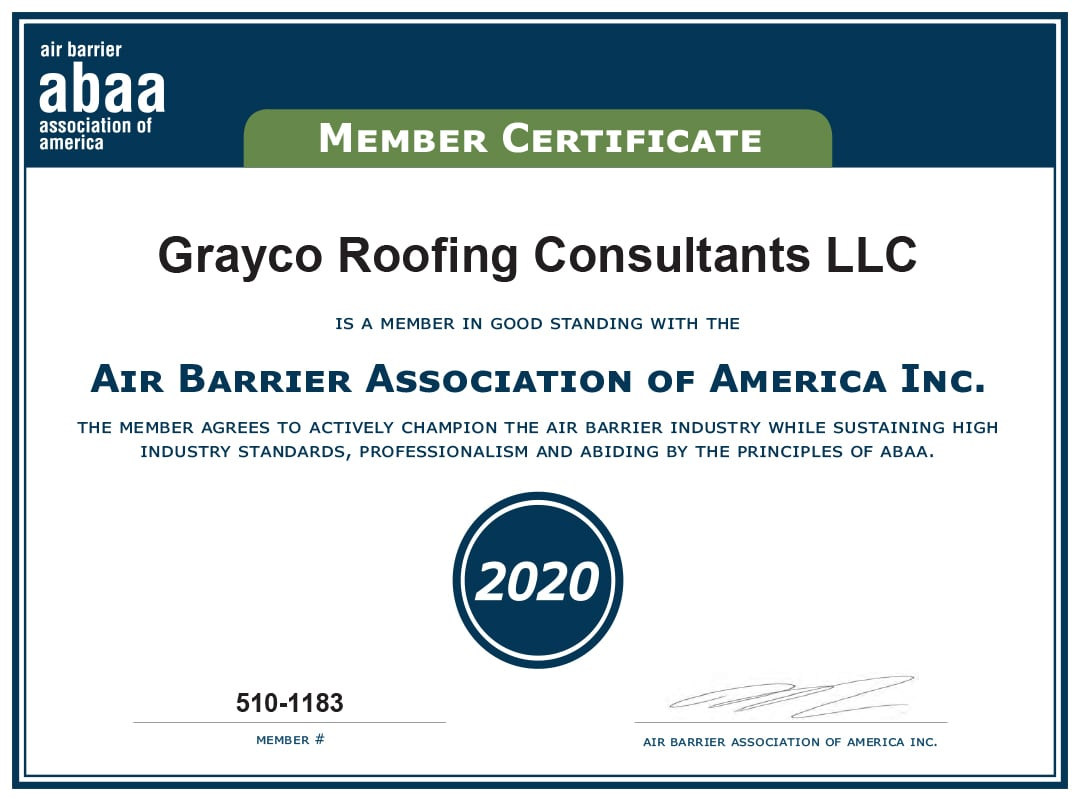 Grayco Roofing Consultants Air Barrier Association of America INC. Member Certificate